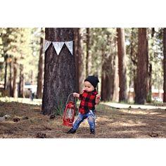 Lumberjack / camping first birthday photoshoot