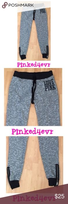 """❌BUNDLED❌VS PINK Marled Gray Joggers Ankle Zippers VS PINK Marled Gray & Black Joggers with Ankle Zippers. Black at waistband and ankles, adjustable drawstring tie waist, zippers at both ankles, PINK logo on hip. In excellent like new condition, with no rips or stains. Soft and comfy material perfect for lounging. I'm a bit over 5'2 and my inseam is usually a 29.5-30"""" in jeans and these come right to the top of my ankle bone. Size XS but would also fit a small due to the adjustable waist…"""