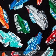 Route 66 - Classic Cars Black Yardage - Timeless Treasures - Timeless Treasures