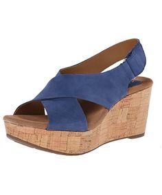 7a8c995b1f03b Clarks Women s Caslynn Shae Wedge Sandal Blue Sandals