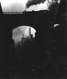 Bill Brandt - Train Leaving Newcastle - 1930s Bill Brandt Photography, Robert Frank, Newcastle, Brooklyn Bridge, Vintage Photography, Diesel, Online Art Gallery, Vintage Photos, Bing Images