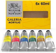 High levels of pigment strength, opacity, and permanence Strong brush stroke retention Includes ten 60 ml tubes Acrylic paints that can give you professional looking results Includes 6-60-milliliter tubes of acrylic paints #winsorandnewton #acrylic #painting #art #artsy #artsupplies #gifts