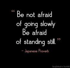 """""""N'ayez pas peur d'avancer trop doucement mais de rester debout """" - Proverbe japonais"""