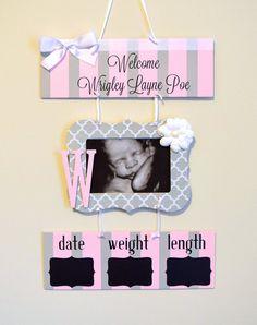 Girl Hospital Door Hanger Welcome Baby Girl Sign by OliveYewToo