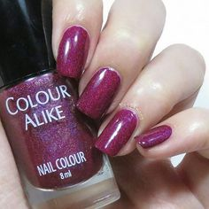 repost via @instarepost20 from @nailiness This is 503 from the dark holo collection by colour alike. This is a very  hard color to capture. I had seen a thousand Swatches when I bought it and I thought that it was a little bit red but in person I think that is clearly maroon. The holo in this one is strange because the purple particles are more visible than the others but you can see all the colours. I bought it on @entrelazosytelas Web site. You can use it my 15% discount code on all your…