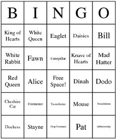 Alice in Wonderland Characters Bingo Card