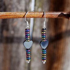 Handmade Hematite Heart Earrings with rainbow by KarmaKittyJewelry