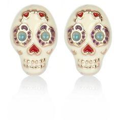 River Island Cream Floral Skull Stud Earrings ($6.47) ❤ liked on Polyvore