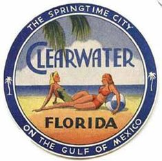 Clearwater Florida Vintage 1950 S Style Travel Decal for sale online Clearwater Florida, Sarasota Florida, Kissimmee Florida, Vintage Florida, Old Florida, Florida Travel, Florida Style, Florida Vacation, Sanibel Island