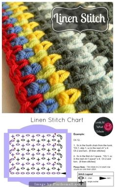 Color change hiding tails Learn how to make the crochet linen stitch with this step-by-step tutorial. Includes a chart and a FREE pattern for a crochet linen stitch lovie. Linen Stitch Crochet, Crochet Motifs, Crochet Diagram, Crochet Stitches Patterns, Tunisian Crochet, Crochet Chart, Stitch Patterns, Knitting Patterns, Moss Stich Crochet