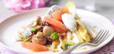 Lauwarmer Salat mit Grapefruitdressing