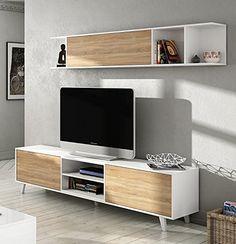 Mueble de salón completo estilo nórdico, módulo TV con estantería color blanco brillo y roble canadian para salón comedor (medida tv: 180cm ancho x 51cm altura x 41cm fondo) ✿ ▬► Ver oferta: https://cadaviernes.com/ofertas-de-mueble-de-comedor-moderno/