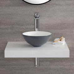 Aufsatzwaschtisch aus Keramik Rund Steingrau 280mm H120mm - Witton Deco Addict, Construction, Decoration, Bathtub, House Design, Art Prints, Bathroom, Workshop, Patio
