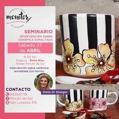Seminario Intervención sobre cerámica esmaltada Por Delia Di Giorgio ⠀⠀⠀⠀⠀⠀⠀⠀⠀  Sábado 27 de abril  9.30hs.  En Atelier Rincón de Sol… Monitor, Mugs, Instagram, Enamels, April 27, Atelier, Mug