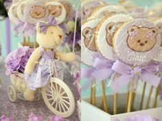 purple green and white garden teddy bear baby shower cookie pops with teddy bear faces