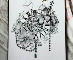 Large Clock & Flowers