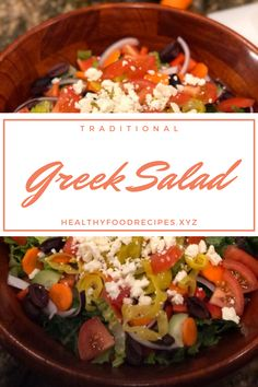 The traditional Greek salad recipe; healthy, simple and absolutely delicious! Find out how to make this Horiatiki (Xoriatiki) salad the traditional Greek way with this authentic recipe. Greek Yogurt Salad Dressing, Greek Chicken Salad, Greek Quinoa Salad, Greek Salad Pasta, Easy Greek Salad Recipe, Greek Salad Recipes, Healthy Salad Recipes, Greek Salad Calories
