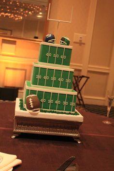 Trendy wedding ideas on a budget cake brides 25 ideas Football Banquet, Football Themes, Football Wedding Themes, Football Field, Football Parties, Football Football, Football Grooms Cake, Football Cakes, Football Birthday Cake