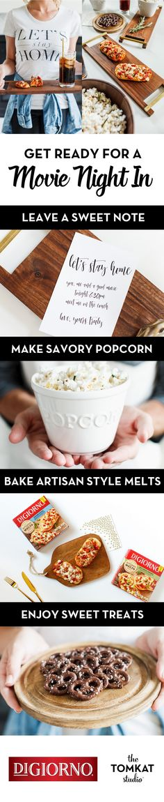 Make movie date night at home extra memorable with these easy and creative ideas from @tomkatstudio , all of which can be prepared while new DIGIORNO Artisan Style melts (perfect for two!) bake to perfection in the oven. From sweet printable invitations to a variety of new delicious new DIGIORNO Artisan Style Melts to savory and salty desserts and a great flick, get the most out of a special night for two and the moments that matter. Enjoy!