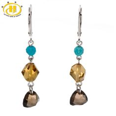 Hutang Handmade Fashion Cut Gemstone & Turquiose Solid 925 Sterling Silver Dangle Earrings Womens Jewelry