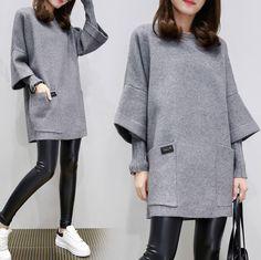 2017 Ms. Autumn And Winter Korean Fashion Round Neck Woolen Dress cf86ac628