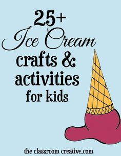 A fantastic must-pin round-up of ice cream crafts and activities for kids! Includes painting, edible crafts, paper-based projects, and great ideas for pretend play!