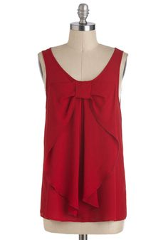 Hello, Bow! Top in Red - Mid-length, Red, Solid, Bows, Party, Work, Holiday Party, Sleeveless, Scoop, Red, Sleeveless, Best Seller, Press Pl...