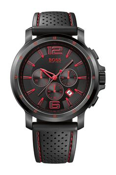 Men's HB2029 Ionic Plated Steel + Black Silicone Strap Watch