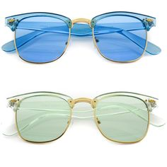 223e9a2e1658 Colorful Premium Clear Metal Frame Semi-Rimless with Color Lens Sunglasses