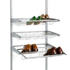 Entry - Elfa gliding shoe rack in entry closet
