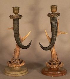 pair of candlesticks made of chamois horns and deer antlers, 1880