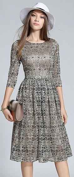 Elegant O-Neck 3/4 Sleeve Embroidery High Waist Dress