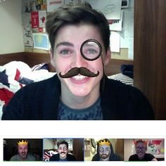 Hahaha @finnharries: Hanging out with @tyleroakley @caspar_lee and @jacksgap on Google Hangout!