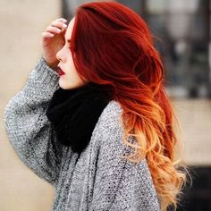 20 ideas for red ombre hair. List of red ombre hair colors. Red ombre hair color ideas for a bold new look. Red Hair Color, Cool Hair Color, Hair Colors, Red Orange Hair, Red Colored Hair, Auburn Red Hair, Yellow Hair, Red Colour, Colour Combo