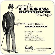 Dapper Festivities - Adult Birthday Party Invitations in Black Hawaiian Birthday, Adult Birthday Party, Birthday Party Themes, Birthday Ideas, 30th Birthday, Birthday Stuff, Husband Birthday, Themed Parties, Make Birthday Invitations