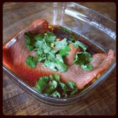 Salmon in a homemade teriyaki marinade ...is whats for dinner tonight!!  This recipe is in my upcoming cookbook!