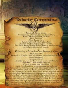 Wednesday Correspondence Spell Page - LaPulia Book of Shadows Wiccan Books, Witchcraft Supplies, Magick Spells, Magick Book, Wheel Of Fortune, Sabbats, Practical Magic, Book Of Shadows, The Magicians