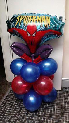 spiderman Spiderman Theme, Balloon Bouquet, Balloon Decorations, Balloons, Crafts For Kids, Birthday, Ideas, Design, Basket Ideas