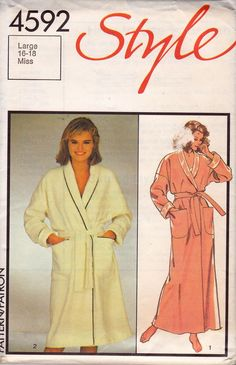 Style 4592 vintage sewing pattern, dated Misses Dressing Gown in 2 lengths: Loose-fitting, front wrap dressing gown has dropped armhole seams, shawl colla Long Gown Dress, Wrap Dress, Dressing Gown Pattern, Dress With Shawl, Large Women, Vintage Sewing Patterns, Pattern Fashion, Size 16, Plus Size Women