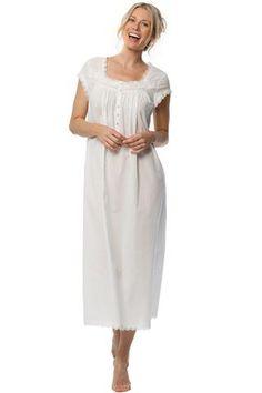 Florentine Lace Cap Sleeve Gown – Eileen West Cotton Sleepwear b9ce997a3