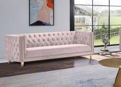 Glam Pink Velvet Tufted Sofa Set 3Pcs MICHELLE Meridian Contemporary Modern
