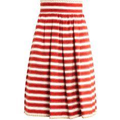 Dolce & Gabbana Raffia-trim jacquard-stripe skirt ($1,208) ❤ liked on Polyvore