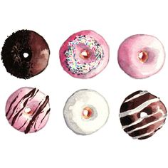 A Dozen Donuts ORIGINAL Watercolor Painting 8 x 10 Pink Icing... (1.380 ARS) ❤ liked on Polyvore featuring home, kitchen & dining e kitchen gadgets & tools