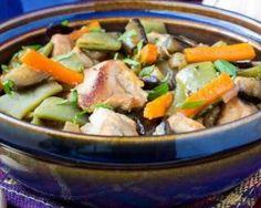 Tajine minceur de veau aux carottes, aubergines et pois gourmands…
