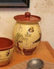 Add a touch of whimsy to your tea service with our Sgraffito Tea Canister. All pieces are lead-free and food safe. Designs are potter's choice.