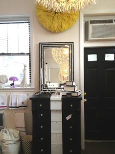 Love the stripe down this dresser!  Easy way to dress up an old, plain dresser.