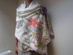 White Pastel Flower Nuno Felt Scarf Shawl Wrap Wool by feltinga, $59.90