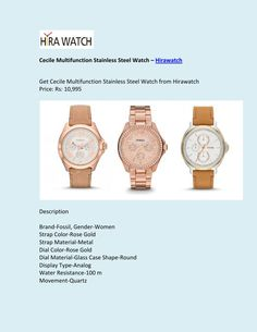 Cecile multifunction stainless steel watch Watch Sale, Watches Online, Stainless Steel Watch, Wood Watch, Metal, Glass, Wooden Clock, Drinkware, Corning Glass