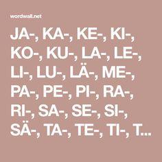 JA-, KA-, KE-, KI-, KO-, KU-, LA-, LE-, LI-, LU-, LÄ-, ME-, PA-, PE-, PI-, RA-, RI-, SA-, SE-, SI-, SÄ-, TA-, TE-, TI-, TO-, TU-, TÄ-, VA-, VI-, VÄ-. Math Equations