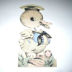 Vintage Large Easter Greeting Card with Cute by grandmothersattic, $4.95